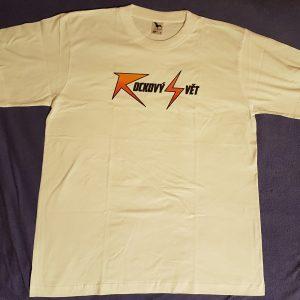 """Bílé triko - nápis """"Rockový Svět"""""""