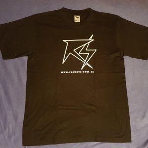 """Černé triko logo """"Rockový Svět"""" - černobílé provedení (obrys)"""