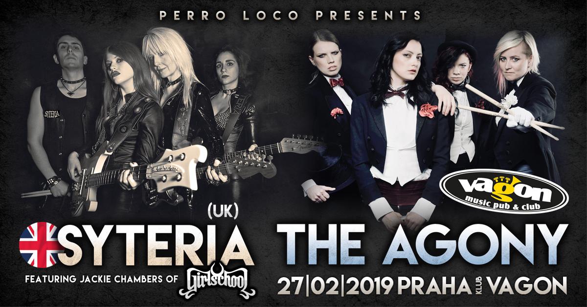 Koncert The Agony (CZ) a Syteria (UK), klub Vagón, 27. února 2019